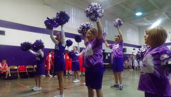 Cheerleaders at basketball game