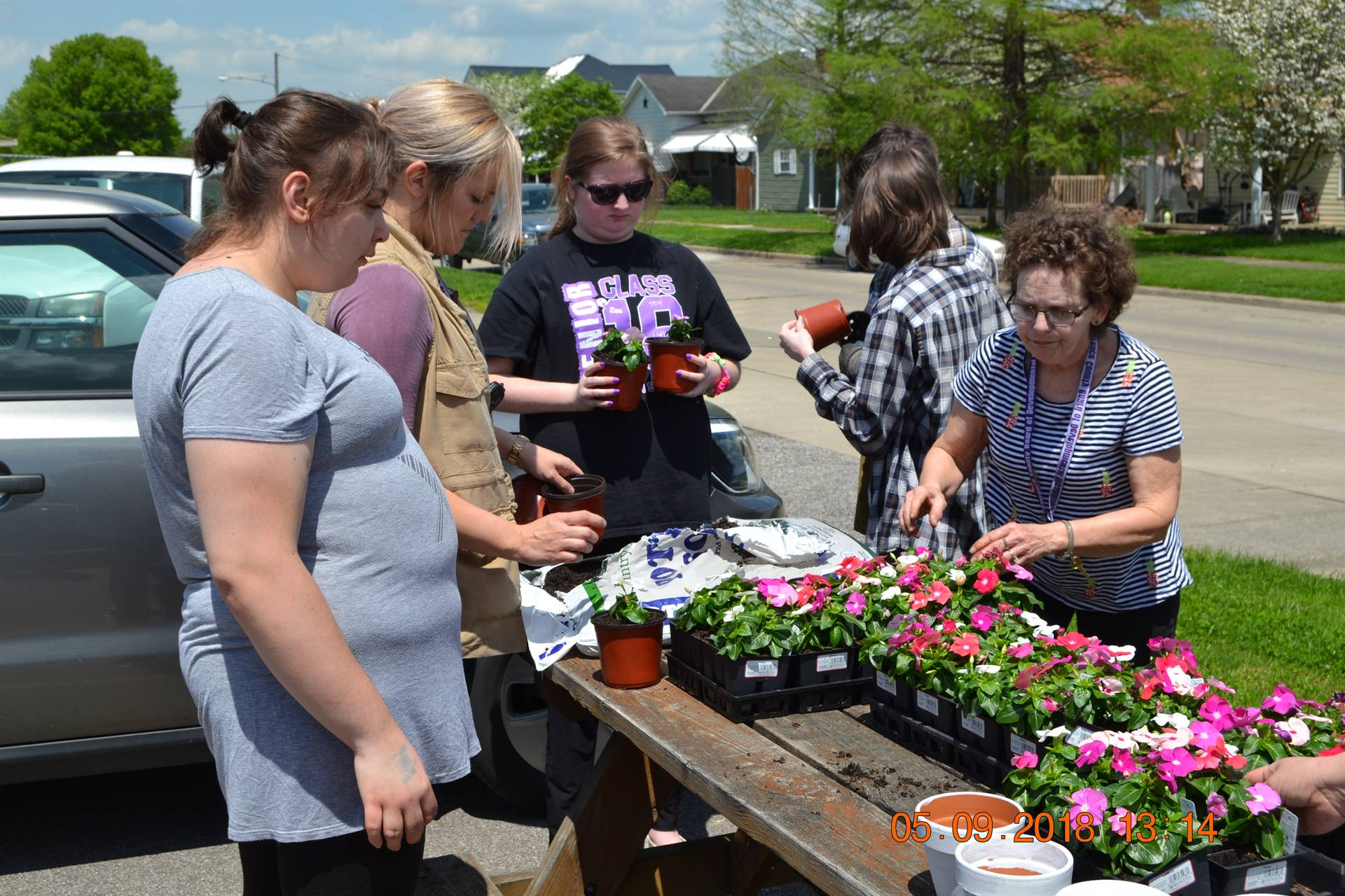 Students and staff planting flowers